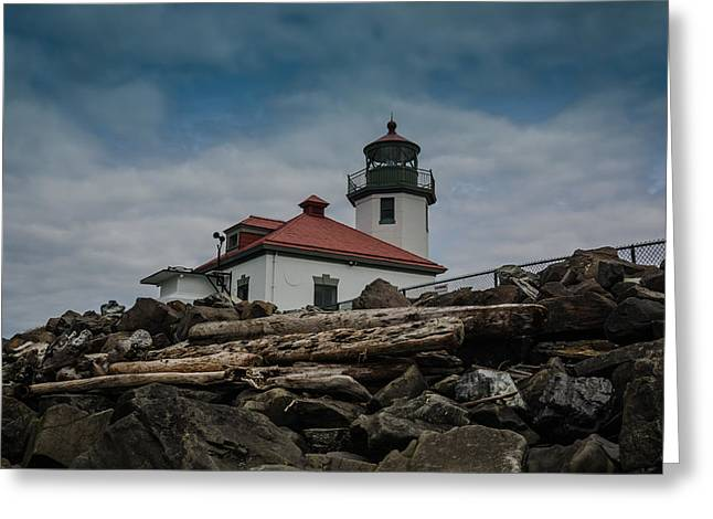 Alki Beach Greeting Cards - Alki Lighthouse  Greeting Card by Puget  Exposure