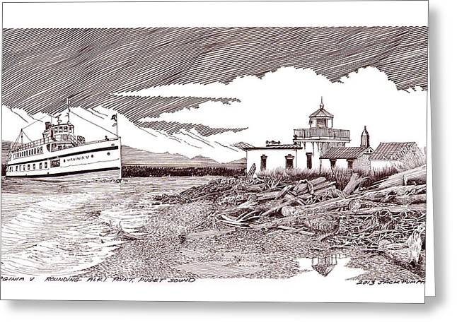 Points Drawings Greeting Cards - Steamship Virgina V Rounding Alki Point Seattle Greeting Card by Jack Pumphrey