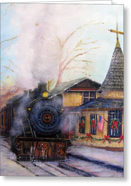 All Aboard At The New Hope Train Station Greeting Card by Loretta Luglio