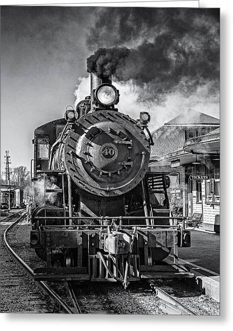 2-8-0 Greeting Cards - All Aboard BW Greeting Card by Susan Candelario