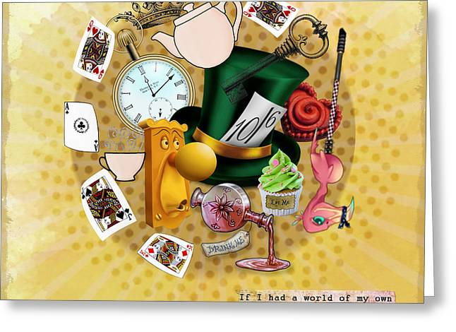 Mad Hatter Mixed Media Greeting Cards - All about Alice Greeting Card by Gillian Singleton