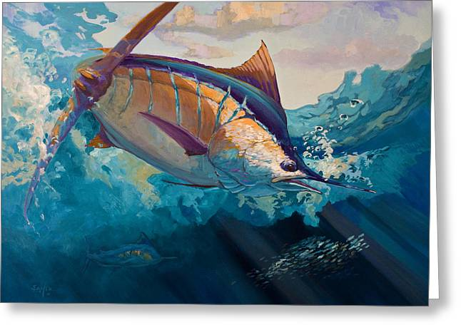 Marlin Greeting Cards - All Ahead Flank Greeting Card by Mike Savlen