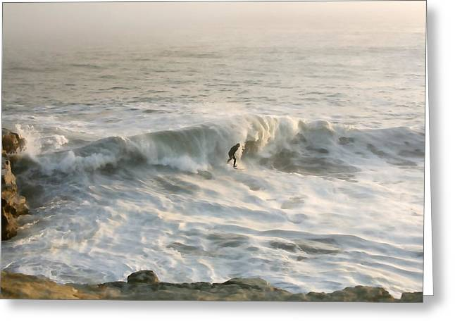 Santa Cruz Surfing Greeting Cards - All Alone Greeting Card by Art Block Collections
