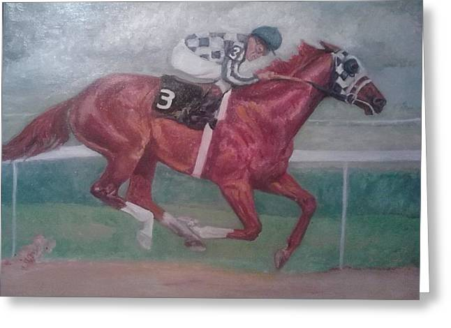 Belmont Stakes Greeting Cards - all alone in Belmont stakes Greeting Card by Yvette Eva  Hirsch