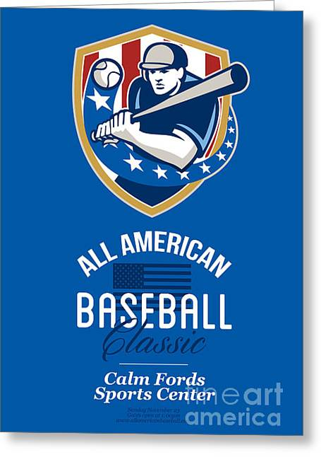 All American Greeting Cards - All American Baseball Classic Retro Poster Greeting Card by Aloysius Patrimonio