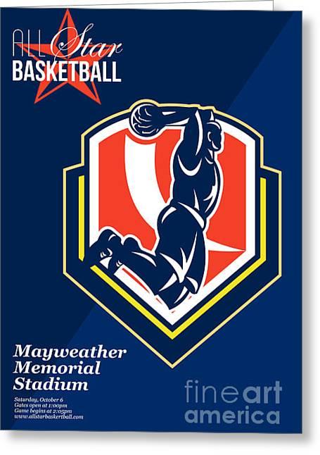 American Basketball Player Greeting Cards - All American Basketball Retro Poster Greeting Card by Aloysius Patrimonio