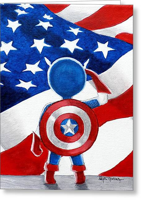 Captain America Paintings Greeting Cards - All American Boy Greeting Card by Al  Molina