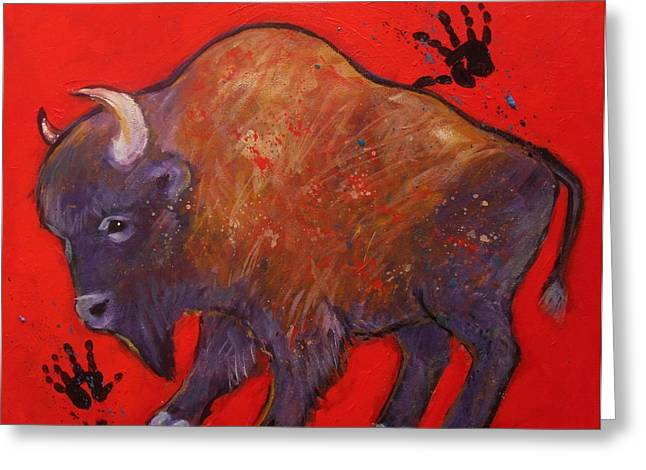 Tatanka Greeting Cards - All American Buffalo Greeting Card by Carol Suzanne Niebuhr