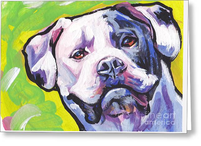 Bulldog Pet Portraits Greeting Cards - All American Bully Greeting Card by Lea