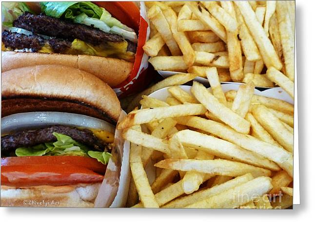 Junk Digital Greeting Cards - All American Cheeseburgers and Fries Greeting Card by Methune Hively