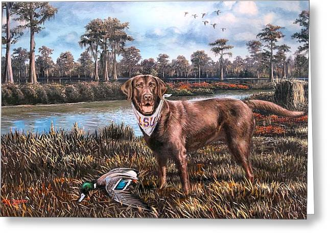 Recently Sold -  - Water Fowl Greeting Cards - All American Chocolate Lab Greeting Card by Mike Roberts