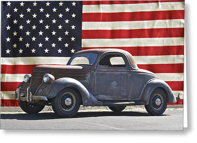 Family Car Greeting Cards - All American Ford Greeting Card by Dave Koontz
