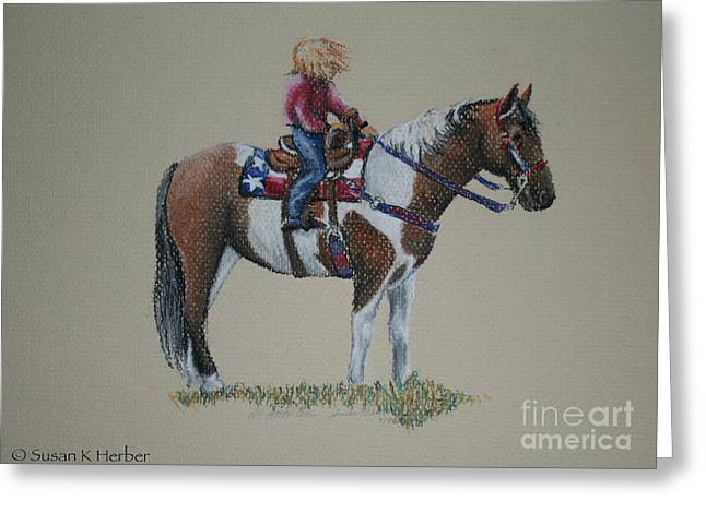 Patriotic Pastels Greeting Cards - All American Girl Greeting Card by Susan Herber
