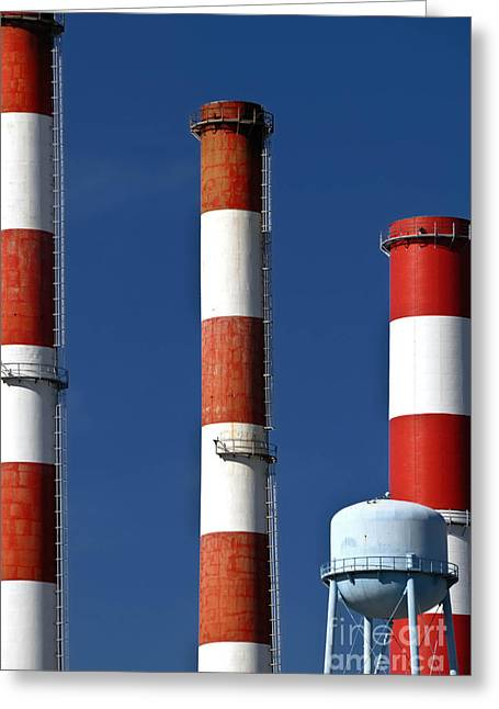 Stack Greeting Cards - All American Industry Smokestacks Greeting Card by Amy Cicconi