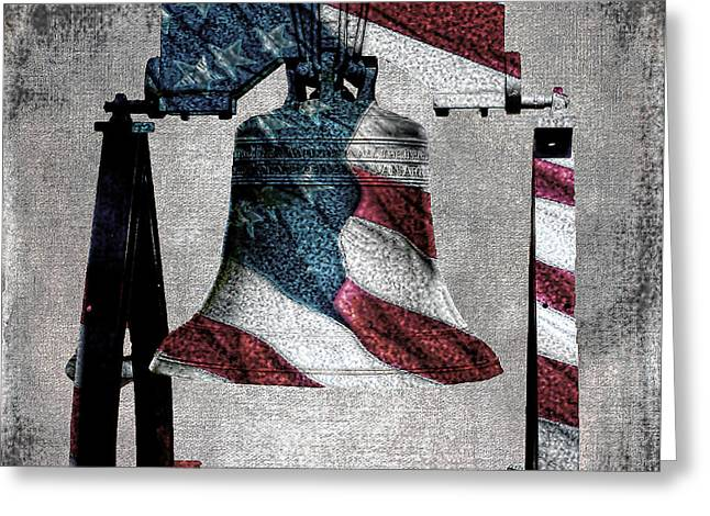 Liberty Bell Greeting Cards - All American Liberty Bell Art_Denim Greeting Card by Lesa Fine