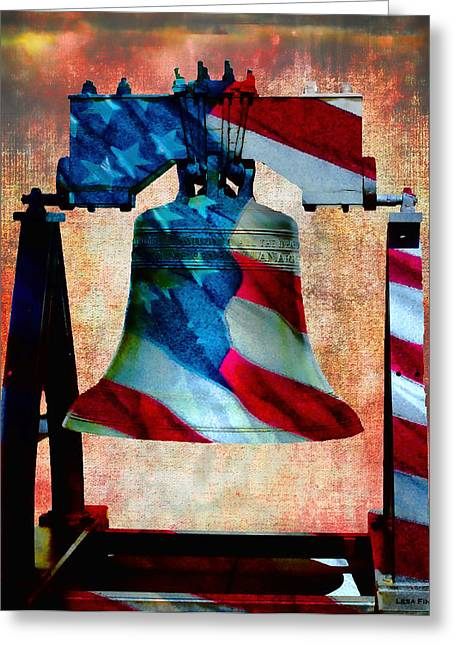 Nostalgic Greeting Cards - All American Liberty Bell Art_Smooth Greeting Card by Lesa Fine