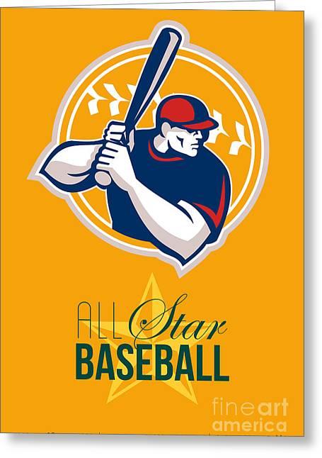 All American Greeting Cards - All-American Star Baseball Retro Poster  Greeting Card by Aloysius Patrimonio