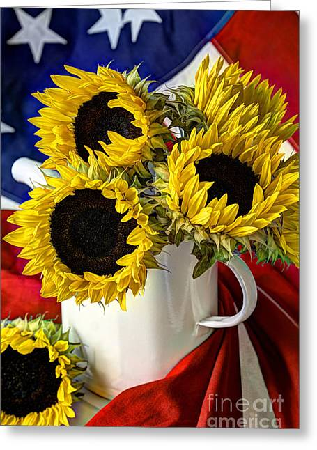 Old Pitcher Greeting Cards - All American Sunflowers Greeting Card by Sarah Schroder