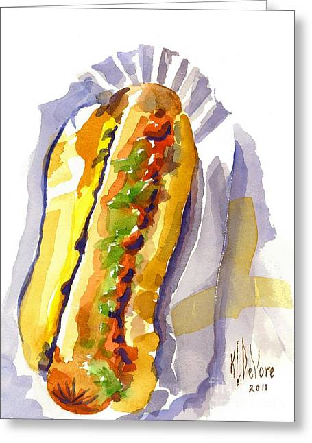 Baseball Stadiums Paintings Greeting Cards - All Beef Ballpark Hot Dog with the Works to Go in Broad Daylight Greeting Card by Kip DeVore