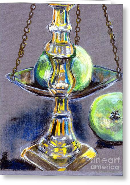 Chains Pastels Greeting Cards - All Brass and apples  Greeting Card by Madeline Moore