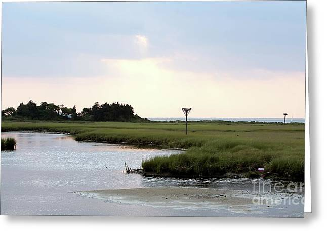 Art For Sanctuaries Greeting Cards - All Calm at Sandy Hook Greeting Card by John Rizzuto