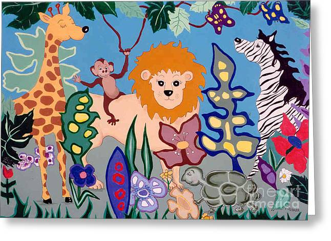 Naive Greeting Cards - All Creatures Great and Small Greeting Card by Joyce Gebauer
