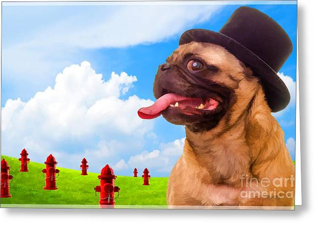 Hydrant Greeting Cards - All Dogs Go To Heaven Greeting Card by Edward Fielding