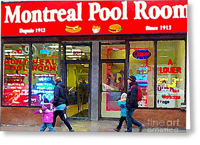 Montreal Diners Greeting Cards - All Dressed Hot Dogs Montreal Pool Room Steamies Best Dogs In Town Urban Eatery Deli Scenes Cspandau Greeting Card by Carole Spandau