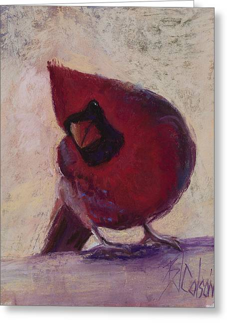 Birds Pastels Greeting Cards - All Dressed in Red Greeting Card by Billie Colson