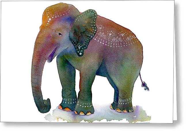 Elephants Greeting Cards - All Dressed Up Greeting Card by Amy Kirkpatrick