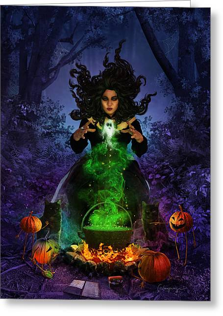 Phantasie Greeting Cards - All Hallows Eve Greeting Card by Cassiopeia Art