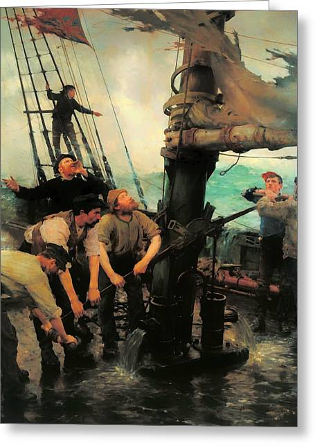 Storm. Rain. Oil On Canvas Greeting Cards - All Hands to the Pump Greeting Card by Henry Tuke