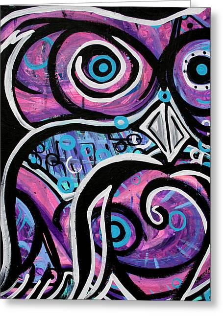 Psychedelic Owl Greeting Cards - All Heart Owl  Greeting Card by Jamie Lopez