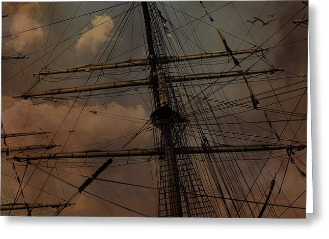 Wooden Ship Greeting Cards - All I Ask is a Tall Tall Ship Greeting Card by Evie Carrier