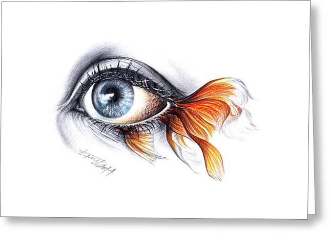 Eyelash Greeting Cards - All I See is a Sea Greeting Card by E Drawings