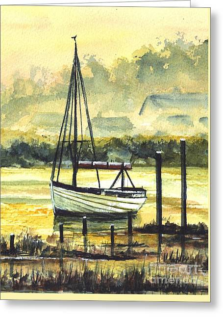 Sailboat Art Greeting Cards - Reflections of a Sunset Greeting Card by Carol Wisniewski