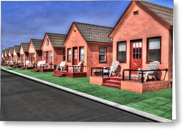 Small House Greeting Cards - All in a Row Greeting Card by Paul Wear