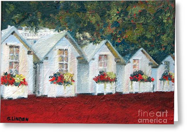 Little Cabin Greeting Cards - All in a Row Greeting Card by Sandy Linden