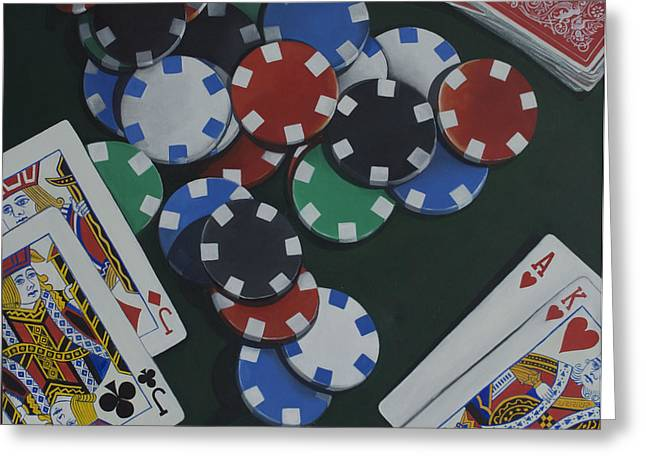 Playing Cards Greeting Cards - All In Greeting Card by Bernie Bombardier