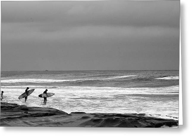 La Jolla Surfers Greeting Cards - All in Black and White Greeting Card by Peter Tellone