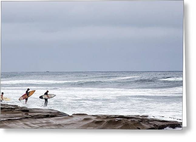 La Jolla Surfers Greeting Cards - All In Greeting Card by Peter Tellone
