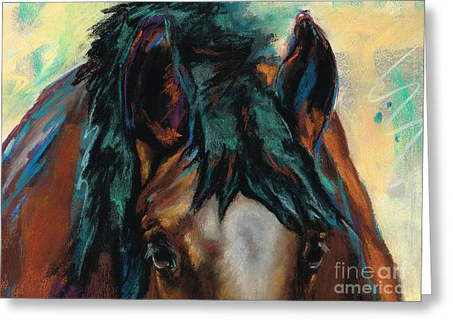 Horse Drawings Greeting Cards - All Knowing Greeting Card by Frances Marino