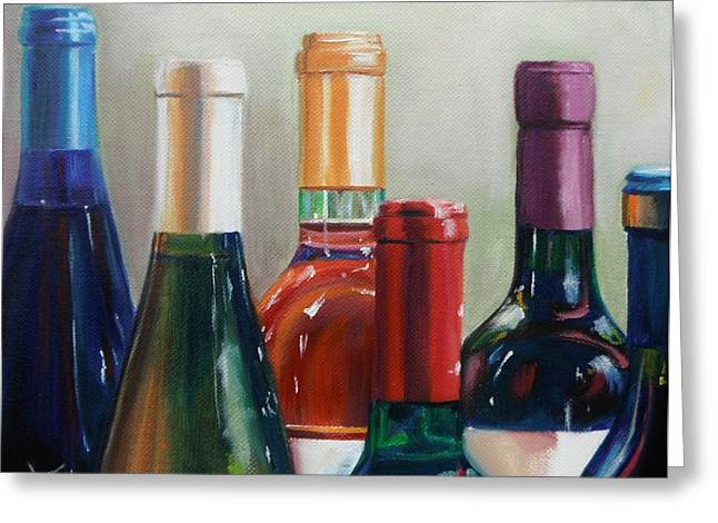 Virginia Wine Art Greeting Cards - All Lined Up Greeting Card by Donna Tuten