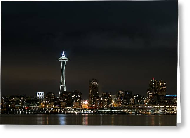 Lights Reflecting On Water Greeting Cards - All Lit Up Greeting Card by E Faithe Lester