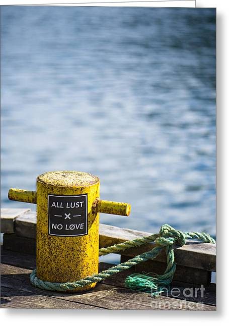 Label Greeting Cards - All Lust x No Love Greeting Card by Anne Gilbert