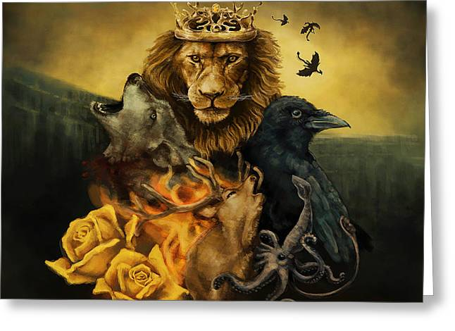 Watch The Throne Greeting Cards - All Men Must Die Greeting Card by J England