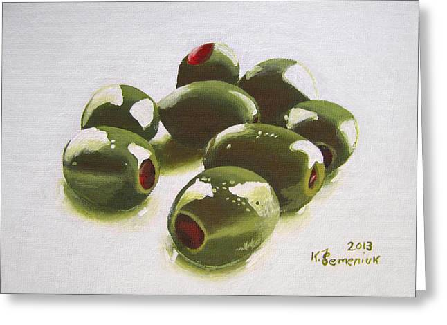 Olive Green Greeting Cards - All of the Olives Greeting Card by Kayleigh Semeniuk