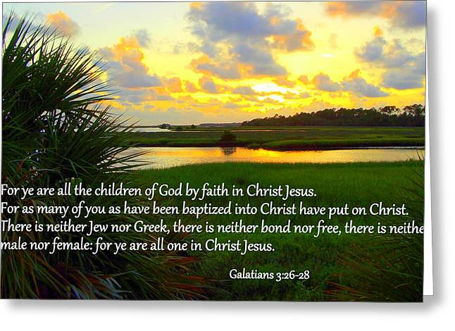 Best Sellers -  - Cedar Key Greeting Cards - All One in Christ Jesus Greeting Card by Sheri McLeroy