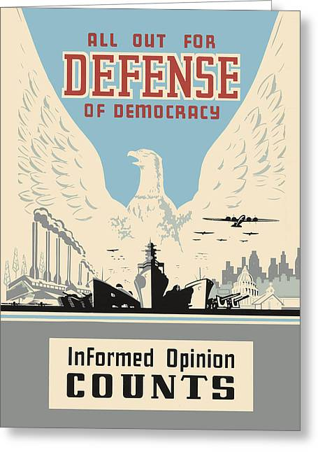 Patriotic Greeting Cards - All Out for Defense of Democracy Greeting Card by God and Country Prints