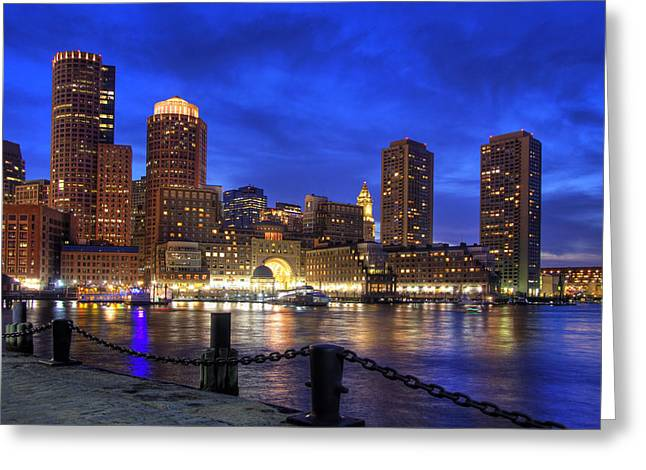 All Quiet In Boston Harbor Greeting Card by Joann Vitali